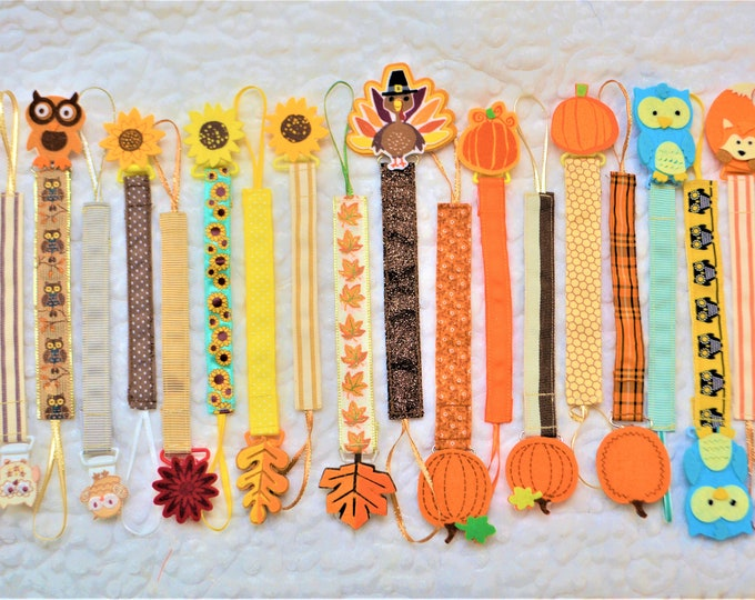 Thanksgiving Fall Pacifier Clip, Binky Clip, Paci Clip -- Free Shipping!