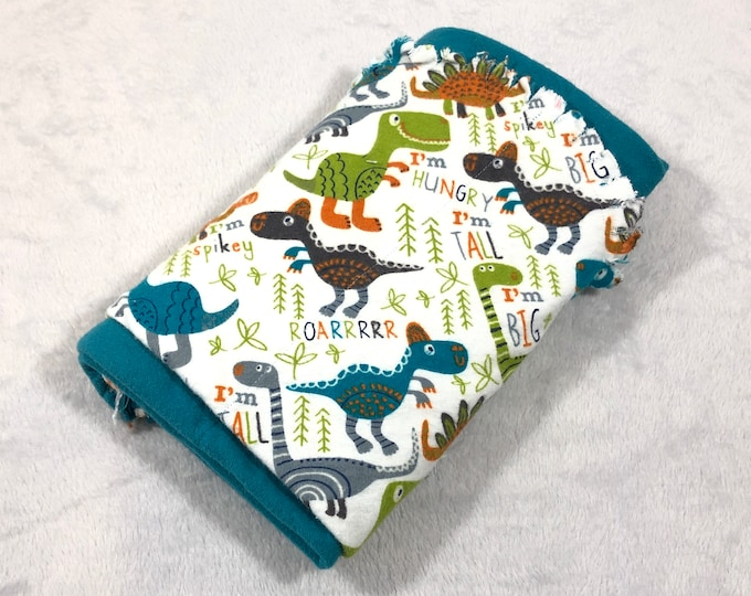 Dinosaur with Blue Flannel Receiving Blanket, Nursery Swaddle, Baby Blanket, Dinosaur with Blue - Optional: 2 Burp clothes
