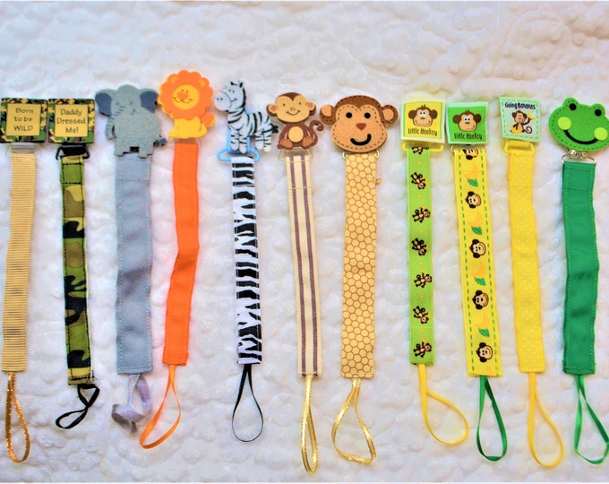Jungle Zoo Animal Pacifier Clip, Binky Clip, Paci Clip