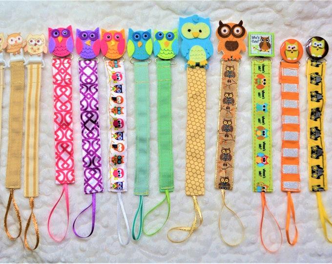 Owl Pacifier Clip, Binky Clip, Paci Clip