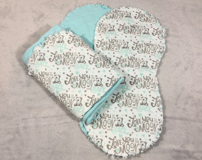 Love You to the Moon and Back Bear with Teal Flannel Receiving Blanket, Nursery Swaddle, Baby Blanket - Optional: 2 Burp clothes