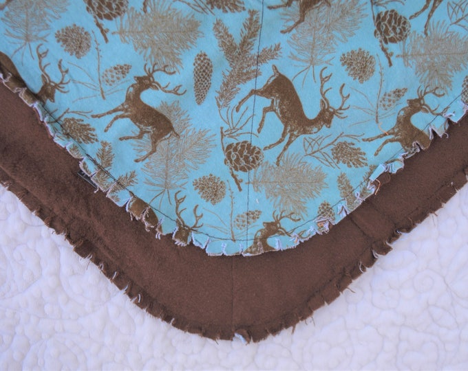 Elk Flannel Receiving Blanket, Nursery Swaddle, Baby Blanket, Elk with Blue and Brown - Optional: 2 Burp clothes