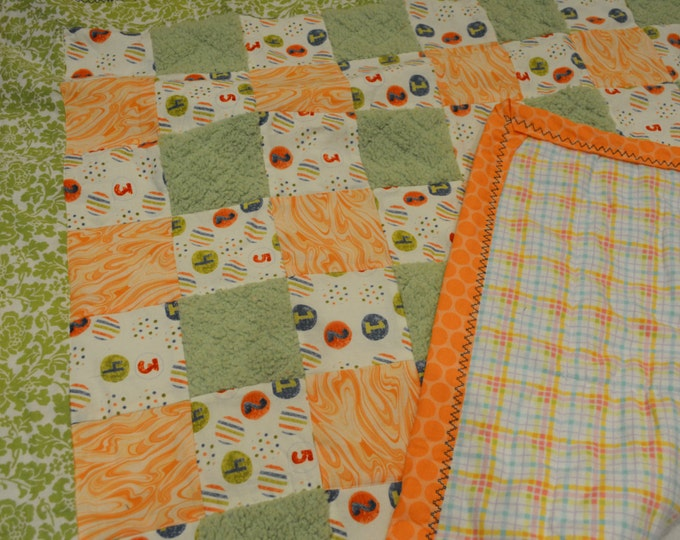 Baby Quilt Blanket with Texture, Numbers, green, orange