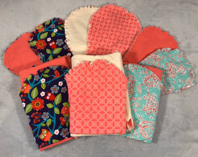 Flannel Receiving Blanket Set, Nursery Swaddle, Baby Blanket - Optional: 2 Burp clothes