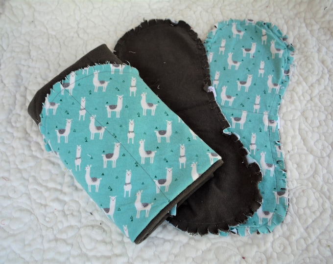 Llama Flannel Receiving Blanket, Nursery Swaddle, Baby Blanket, Llamas - Optional: 2 Burp clothes