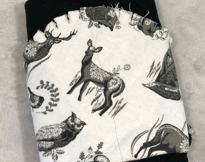 Woodland Animal with Black Flannel Receiving Blanket, Nursery Swaddle, Baby Blanket - Optional: 2 Burp clothes