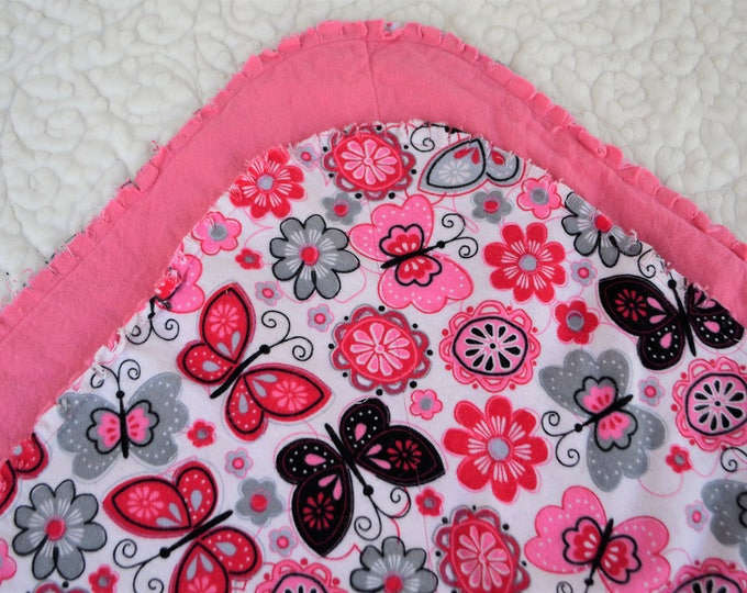 Butterfly Flannel Receiving Blanket, Nursery Swaddle, Baby Blanket, Butterflies with Pink - Optional: 2 Burp clothes