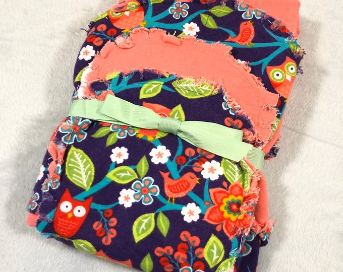 Owls with Purple and Pink Flannel Receiving Blanket, Nursery Swaddle, Baby Blanket - Optional: 2 Burp clothes