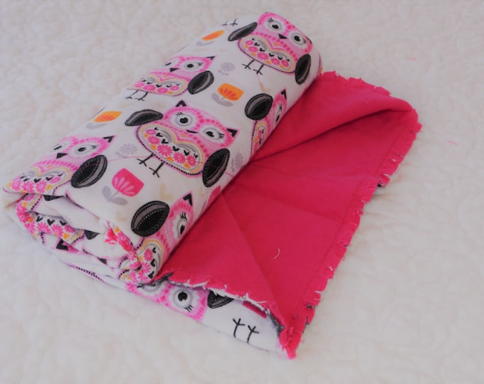 Pink Owl Flannel Receiving Blanket, Nursery Swaddle, Baby Blanket, Owls with Pink - Optional: 2 Burp clothes