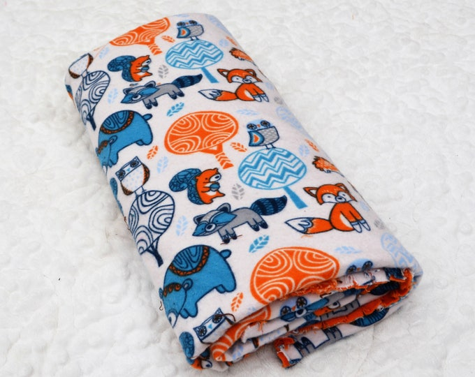 Woodland Flannel Receiving Blanket, Nursery Swaddle, Baby Blanket, Colorful Woodland Theme with Orange - Optional: 2 Burp clothes