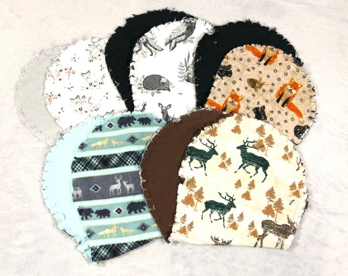 Woodland Animal Flannel Burp Cloths, Hourglass Burp Cloths - Free Shipping!
