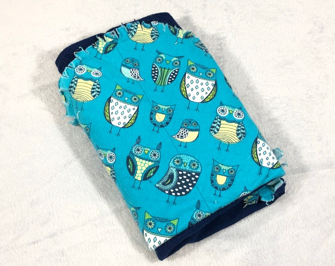 Owls with Blue Flannel Receiving Blanket, Nursery Swaddle, Baby Blanket - Optional: 2 Burp clothes