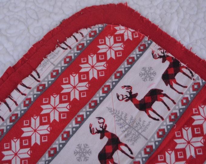 Red Deer Flannel Receiving Blanket, Nursery Swaddle, Baby Blanket, Deer with Red - Optional: 2 Burp clothes