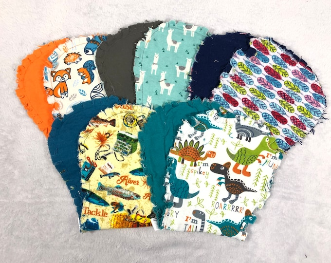 Flannel Burp Cloths - Set of 5, Hourglass Burp Cloths - Free Shipping!