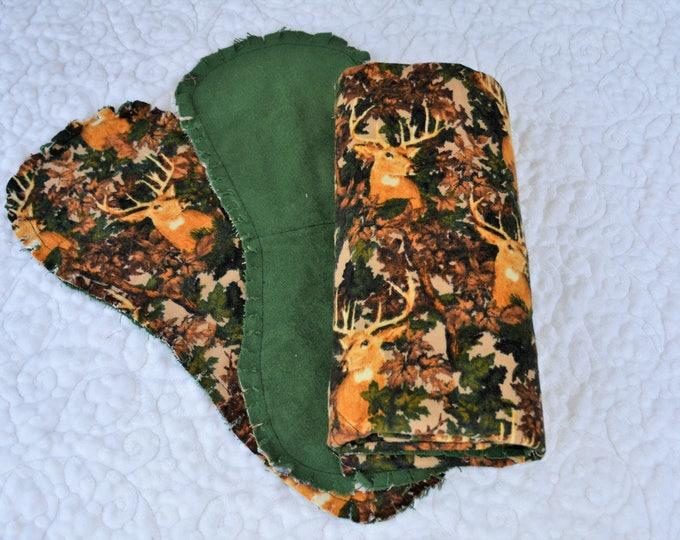 Elk Flannel Receiving Blanket, Nursery Swaddle, Baby Blanket, Elk with Green - Optional: 2 Burp clothes