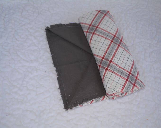 Plaid Flannel Receiving Blanket, Nursery Swaddle, Baby Blanket, Plaid with Gray
