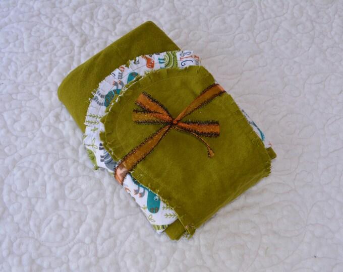 Dinosaur Flannel Receiving Blanket, Nursery Swaddle, Baby Blanket, Dinosaur with Green - Optional: 2 Burp clothes