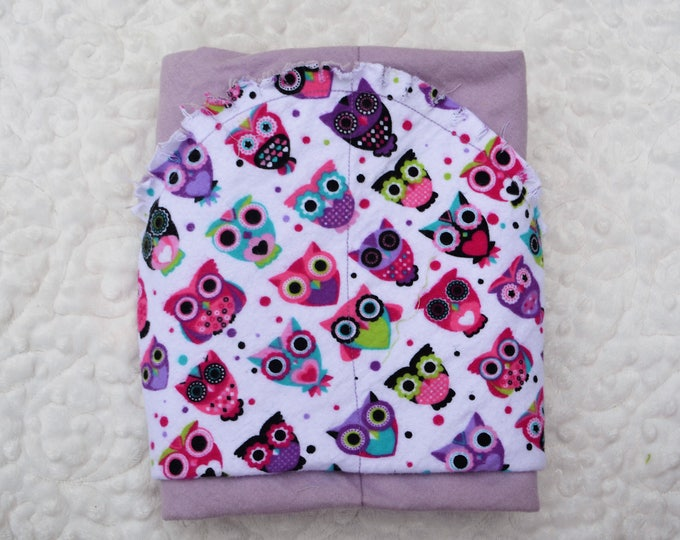 Owl Flannel Receiving Blanket, Nursery Swaddle, Baby Blanket, Colorful Owls with Purple - Optional: 2 Burp clothes