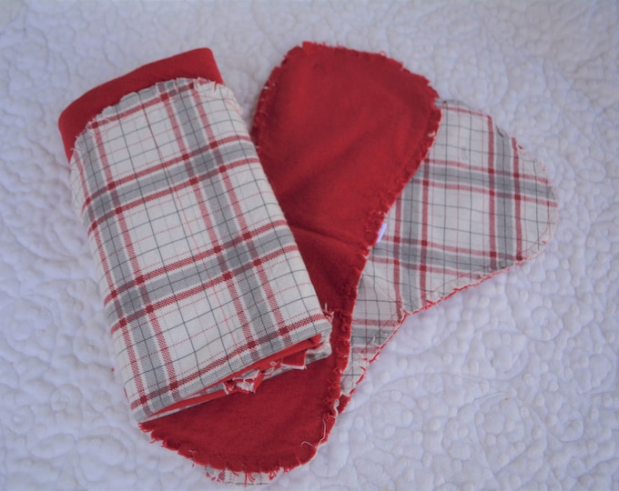 Plaid Flannel Receiving Blanket, Nursery Swaddle, Baby Blanket, Plaid with Red - Optional: 2 Burp clothes