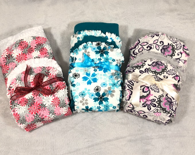 Flower Flannel Receiving Blanket Set, Nursery Swaddle, Baby Blanket - with Burb Cloths