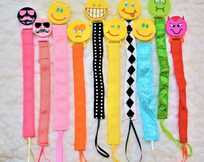 Emoji, Pacifier Clip, Binky Clip, Paci Clip