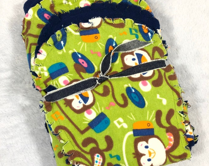 Dancing Monkey with Blue Flannel Receiving Blanket, Nursery Swaddle, Baby Blanket - Optional: 2 Burp clothes