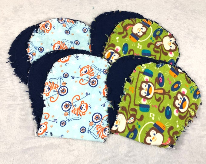 Monkey Burp Cloths Set of 4, Hourglass Burp Cloths - Free Shipping!