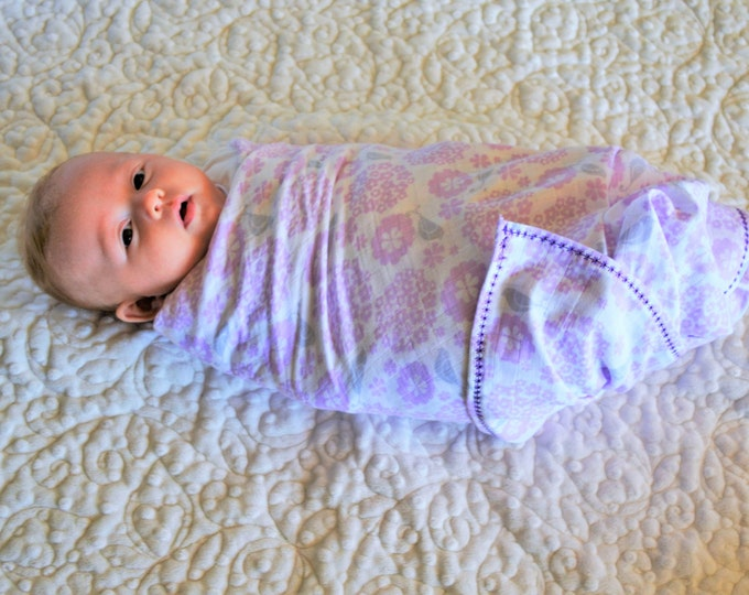 Embroidered Baby Swaddle Blanket Muslin
