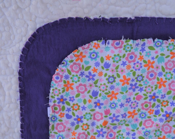 Glitter Flower Flannel Receiving Blanket, Nursery Swaddle, Baby Blanket, Flowers with Purple - Optional: 2 Burp clothes