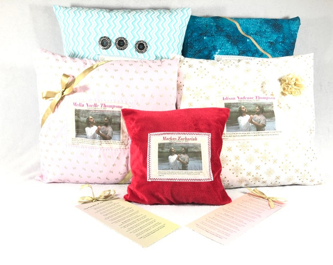 Custom Baptism Pillow, Personalized Pillow, Parable of the Pillowcase, LDS Baptism Gift