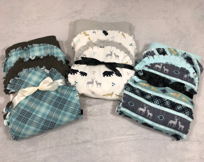 Woodland Animal Flannel Receiving Blanket, Nursery Swaddle, Baby Blanket - Optional: 2 Burp clothes