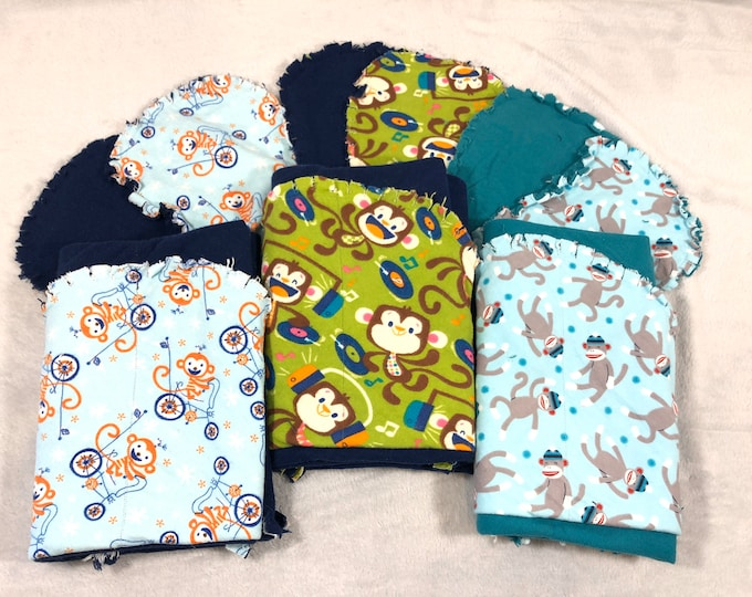 Monkey Flannel Receiving Blanket Set, Nursery Swaddle, Baby Blanket - Optional: 2 Burp clothes