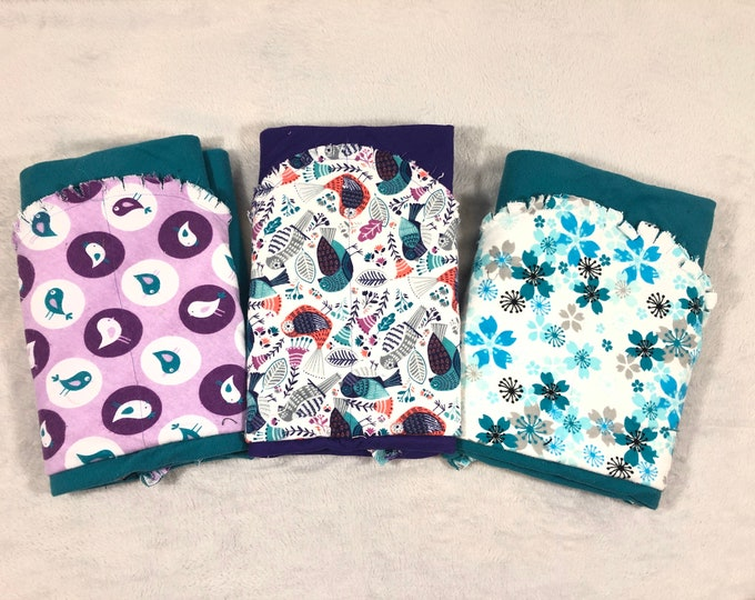 Bird and Flower Flannel Receiving Blanket Set, Nursery Swaddle, Baby Blanket - Optional: 2 Burp clothes