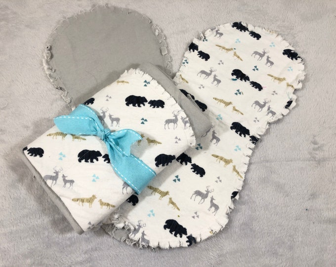 Woodland Animal with Teal Flannel Receiving Blanket, Nursery Swaddle, Baby Blanket - Optional: 2 Burp clothes