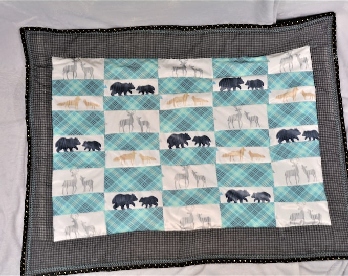 Baby Quilt Blanket with Texture, Patchwork Woodland Animals, Gray and Teal