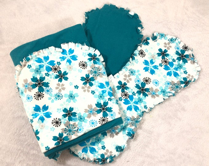 Flower with Teal Flannel Receiving Blanket, Nursery Swaddle, Baby Blanket - Optional: 2 Burp clothes