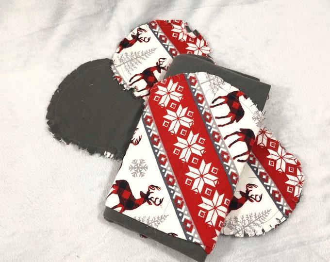 Deer Flannel Receiving Blanket, Nursery Swaddle, Baby Blanket, Deer with Red - Optional: 2 Burp clothes