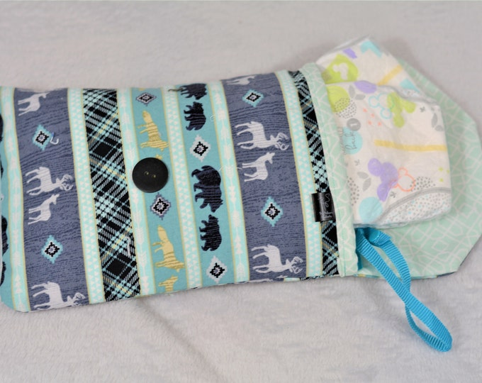 Reversible Diaper Clutch - Woodland Animals, Teal - Free Shipping!