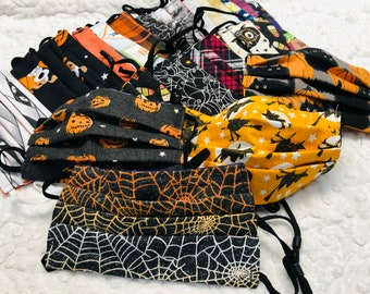 Custom Reversible Halloween Fall Face Mask, 30 Patterns, You Pick Both Patterns, Adult & Child size with adjustable strap