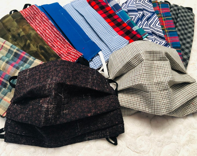 Custom Reversible Face Mask, Plaid Patterns, You Pick Both Patterns, Adult & Child size with adjustable strap
