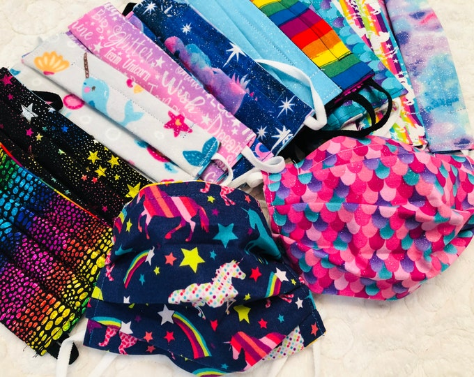Custom Reversible Kids Face Mask, Unicorn Mermaid Rainbow Patterns, You Pick Both Patterns, Adult & Child size with adjustable strap