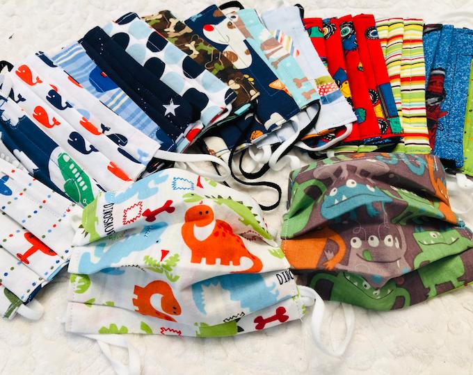 Custom Reversible Kids Face Mask, Boy Patterns, You Pick Both Patterns, Adult & Child size with adjustable strap