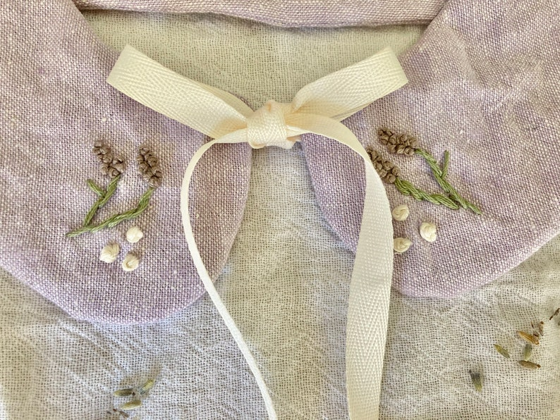 Embroidered Detachable Collar in Lavender Linen Cotton Blend Cottagecore Accessory with Hand Embroidered Lavender Flowers and Bow Tie