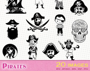 Pirates - 25 svg/dxf/eps/silhouette studio/png - Silhouettes, die cutting file, clipart - Pirate flag hat caribbean pirate corsair svg cut