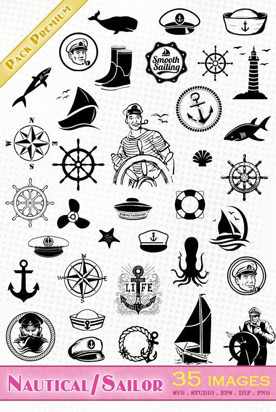 Sailor Nautical 35 Svg Dxf Eps Silhouette Studio Png Etsy