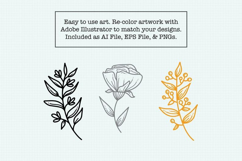 Spring Stems Illustration Set Spring Floral Clipart Floral Design Elements Simple Clip Art Summer Hand Drawn Bundle Minimalist Design