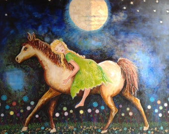 Horse Dreamer- Mixed Media, Acrylic and Collage Painting on Canvas 103x82cm