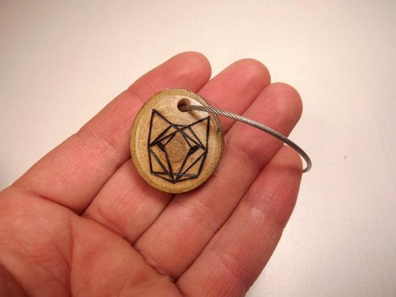Bois de loup, porte-clé, loup bois porte-clé, porte clé bois renard, origami animaux porte-clé, télécommande, unique en son genre, tranche d'ornement bois brûlé