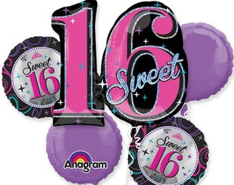 Sweet 16 Birthday – Bouquet Of Mylar Balloons 16th Birthday Balloons