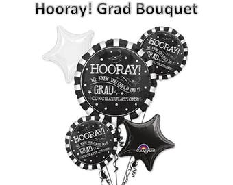 Giant Chalkboard Sytle -  Hooray Graduation Balloon Bouquet with Grad Cap Balloon Weight - Grad Balloons - We knew you could do it!